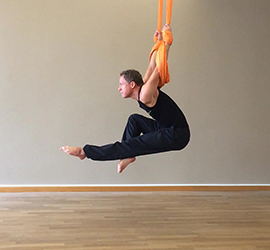 Aerial Yoga Pose Suspended Pike